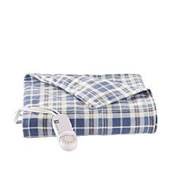 LivingQuarters Blue Plaid Heated Micro Plush Throw