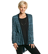 Notations® Solid Layered Look Knit Top With Necklace