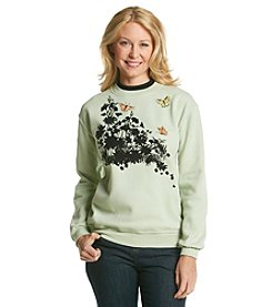 Morning Sun® Floral Flocking Sweatshirt