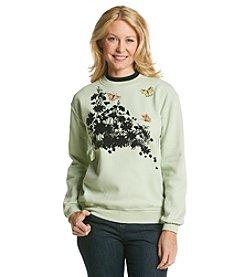 Morning Sun® Floral Flocking Sweatshirt