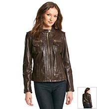 MICHAEL Michael Kors® Patch Pocket Scuba Leather Jacket