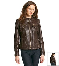 MICHAEL Michael Kors® Patch Pocket Scuba Leather Jacket