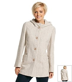Gallery® Hooded Buttonfront Swing Coat