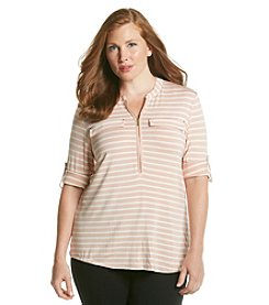 Calvin Klein Plus Size Zip Front Roll Sleeve Shirt