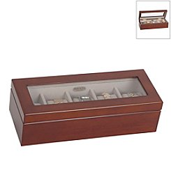 Mele & Co. Langley Glass Top Wooden Watch Box in Walnut Finish