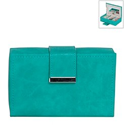 Mele & Co. Joni Travel Jewelry Case in Faux Leather in Turquoise