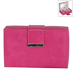 Mele & Co. Joni Travel Jewelry Case in Faux Leather in Magenta
