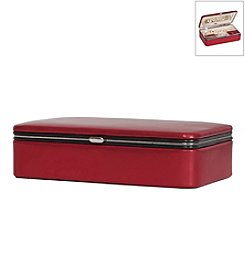 Mele & Co. Devon Metallic Fabric Jewelry Box in Red