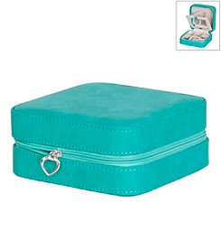 Mele & Co. Josette Travel Jewelry Case in Faux Leather in Turquoise