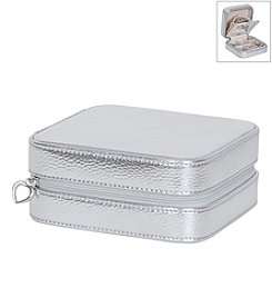 Mele & Co. Luna Travel Jewelry Case in Metallic Faux Leather in Silver