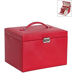 Mele & Co. Raleigh Drop Front Locking Jewelry Box in Red Faux Leather