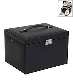 Mele & Co. Raleigh Drop Front Locking Jewelry Box in Black Faux Leather