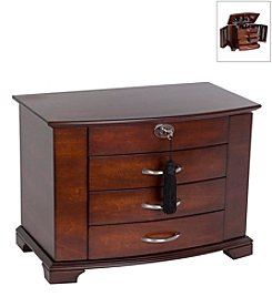 Mele & Co. Atria Wooden Jewelry Box in Mahogany Finish