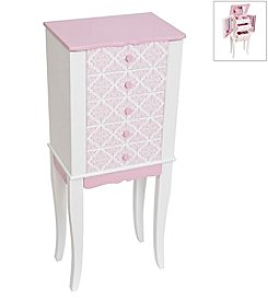 Mele & Co. Selena Girl's Pink and White Wooden Jewelry Armoire