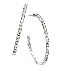 OroClone 35mm J Hoop Crystal Earrings