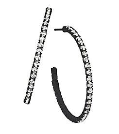 OroClone 35mm J Hoop Crystal Earrings