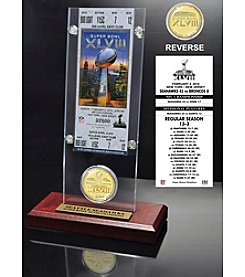 NFL Seattle Seahawks Super Bowl XLVIII Champions Ticket and Bronze Coin Desktop Acrylic