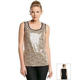 Notations® Front Sequins Animal Print Tank Top