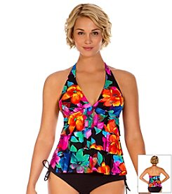 Caribbean Joe® Sweet Love Ruffled Halter Tankini Top