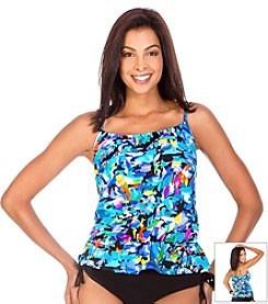 Caribbean Joe® Monet Blouson Tankini Top
