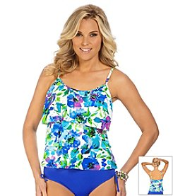Caribbean Joe Paris In Bloom Triple Tier Ruffle Tankini Top