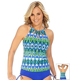 Caribbean Joe® Rhythm Nation High Neck Cut Out Tankini Top