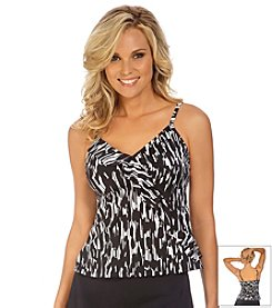 Caribbean Joe® Black Gold Diagonal Ruffle Tankini Top