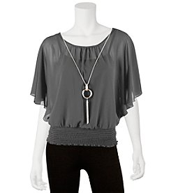 A. Byer Butterfly Sleeve Top With Necklace - Charcoal
