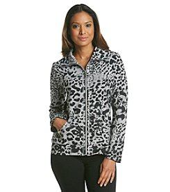 Laura Ashley® Petites' Animal Rhinestone Pocket French Terry Jacket