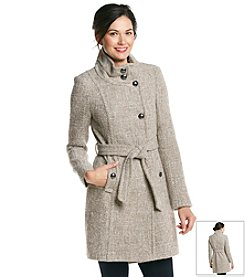 T Tahari® Asymmetrical Buttonfront Wool Walker