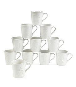 LivingQuarters White 14-oz. Embossed Initial Mug