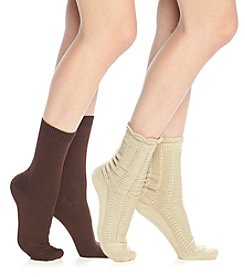 Relativity® 2 Pack Pointelle Boot Socks