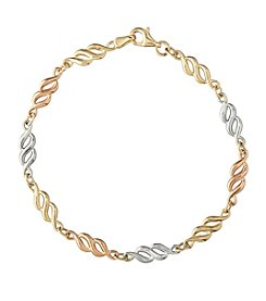 14k Tri-Color Gold Figure Eight Link Bracelet