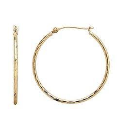 14K Gold Diamond-Cut Round Hoop Earrings