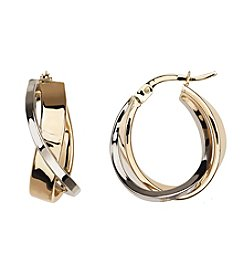 14K Gold Crossover Hoop Earrings