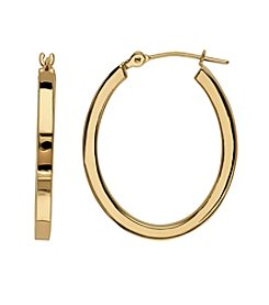 14K Gold Polished Square Tube Hoop Earrings