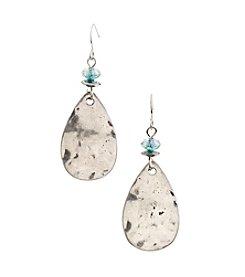 Ruby Rd.® Teal Hammered Metal Teardrop Earrings