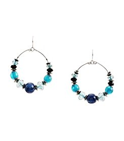 Ruby Rd.® Teal Beaded Gypsy Hoop Earrings