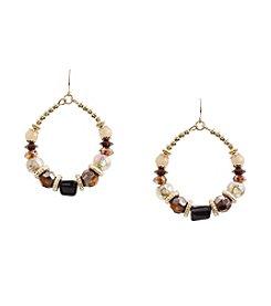 Ruby Rd.® Brown Beaded Gypsy Hoop Earrings