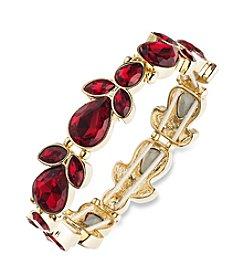 Anne Klein® Goldtone/Red Stretch Bracelet