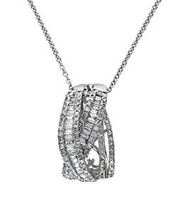 Effy® .75 ct. t.w. Baguette Diamond Pendant in 14K White Gold