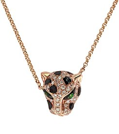 Effy® Panther .15 Ct. T.W. Diamond and Tsavorite Pendant in 14K Rose Gold