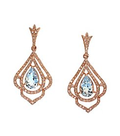 Effy® Aquamarine and .61 ct. t.w. Diamond Earrings in 14K Rose Gold