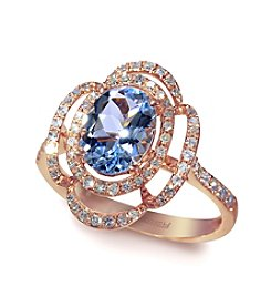 Effy® Aquamarine and .33 ct. t.w. Diamond Ring in 14K Rose Gold