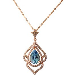 Effy® Aquamarine and .30 ct. t.w. Diamond Pendant in 14K Rose Gold