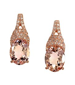 Effy® Morganite and .19 ct. t.w. Diamond Earrings in 14K Rose Gold