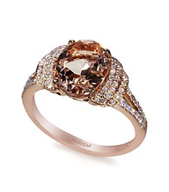 Effy® Morganite and .24 ct. t.w. Diamond Ring in 14K Rose Gold