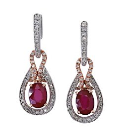 Effy® Lead Glass-Filled Ruby and .40 ct. t.w. Diamond Earrings in 14K White & Rose Gold