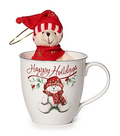 Pfaltzgraff® Winterberry Happy Holidays Mug With Stuffed Bear