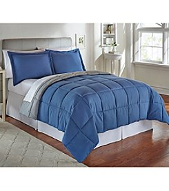 LivingQuarters Reversible Microfiber Down-Alternative Moonlight Blue Comforter